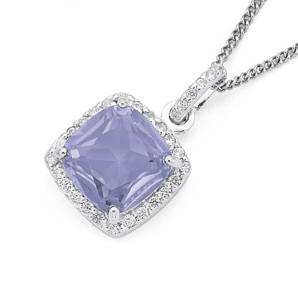 Sterling Silver Lavender Cubic Zirconia Cluster Pendant