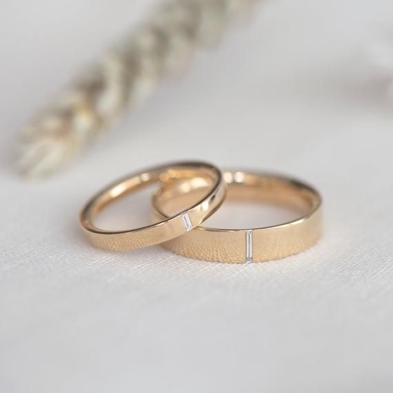 Classic Baguette Wedding Band Mens Wedding Ring Etsy In 2020 Mens Yellow Gold Wedding Bands Etsy Wedding Rings Mens Gold Wedding Band