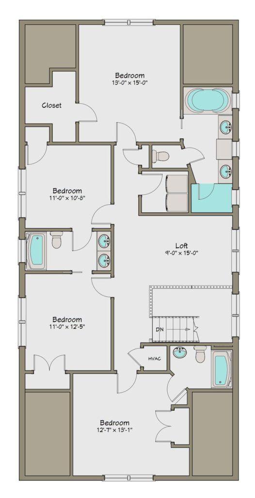 Plano de Planta Alta de Casa Grande de 5 Dormitorios en 248m2