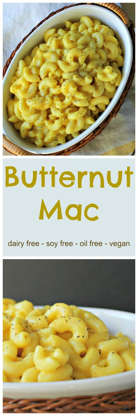 Butternut Mac - This recipe is dairy free and made with all whole food ingredients. No soy, no nutritional yeast, and no fake cheese! #plantstrong #plantbased