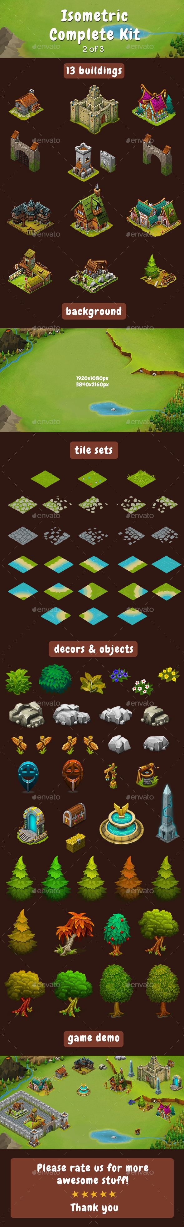 Isometric Game Kit 2 of 3  Towers, Background, Tilesets & more — Photoshop PSD #complete #isometric design • Available here → https://graphicriver.net/item/isometric-game-kit-2-of-3-towers-background-tilesets-more/17197844?ref=pxcr