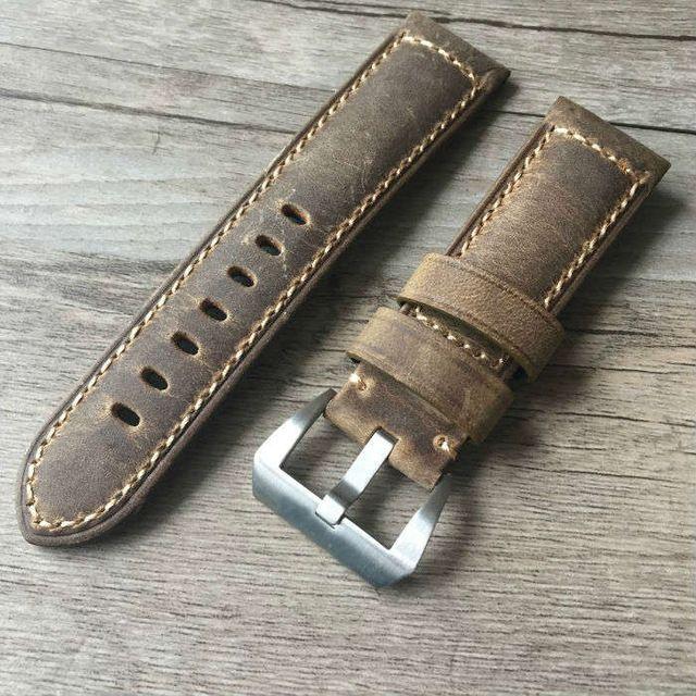 Handgemaakte 22mm 24mm Vintage Bruin Italië Kalf Lederen Band, Retro Horlogeband Voor Pam En Grote Horloge, Gratis verzending