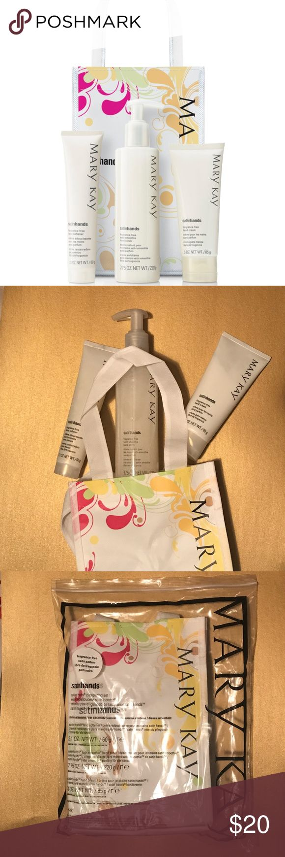 Fragrance-Free Satin Hands Pampering Set M A R Y   K A Y  |  Fragrance-Free Satin Hands Pampering Set  Fragrance-Free Satin Hands Hand Softener 2.1 oz. Fragrance-Free Satin Hands Satin Smoothie® Hand Scrub 7.75 oz. Fragrance-Free Satin Hands Hand Cream 3 oz.  Fragrance-Free Satin Hands® Pampering Set is an easy, three-step system that helps keep hands feeling renewed, soothed and pampered.  •	Dermatologist-tested. •	Clinically tested for skin irritancy and allergy. •	Makes a great gift.  M A…
