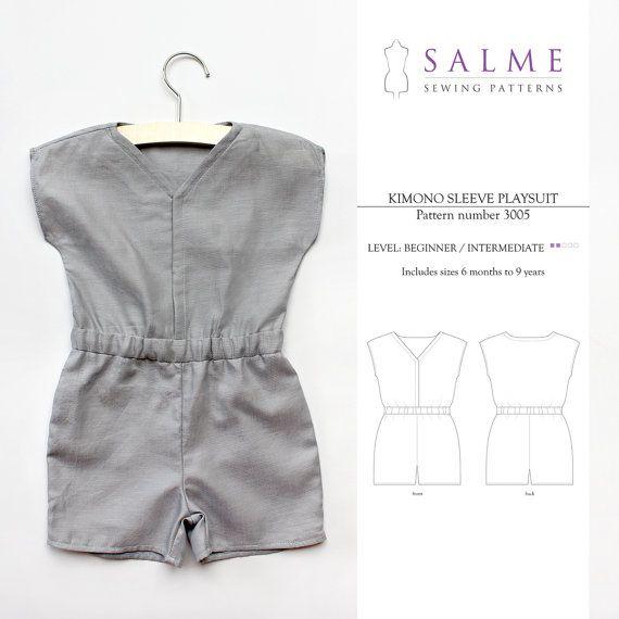 too cute!  Children's Unisex Kimono Sleeve Playsuit PDF pattern