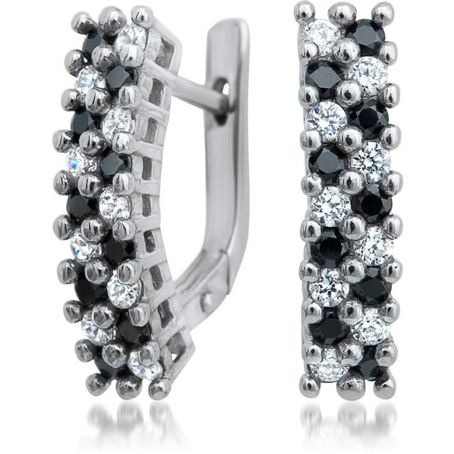Day and Night Collection: Silver Black and White Cubic Zirconia Earrings by Drukker Designs