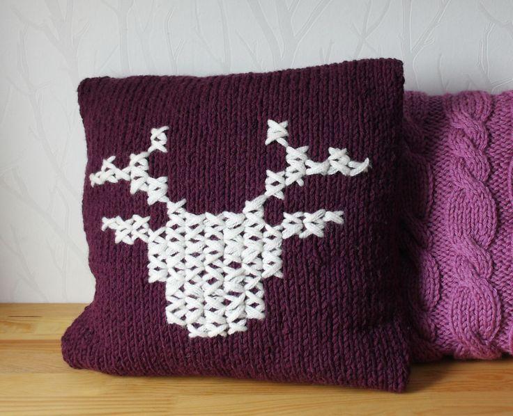 knit pillow cover deer