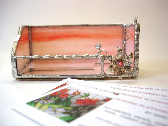 450 best vizitkovnk business card holder images on pinterest stained glass business card holder tangerine peach desk accessory for her office decor reheart Choice Image