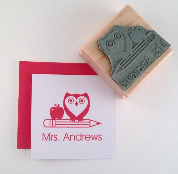 """Show your students that you give a """"hoot"""" about their work: Owl with Pencil and Apple Teacher Personalized Rubber Stamp on Etsy, $10.50"""
