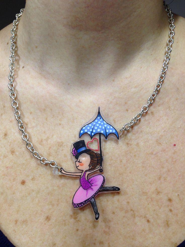 """Cute ballerina with umbrella"" necklace - shrinky dink - plastico magico - plastique fou"