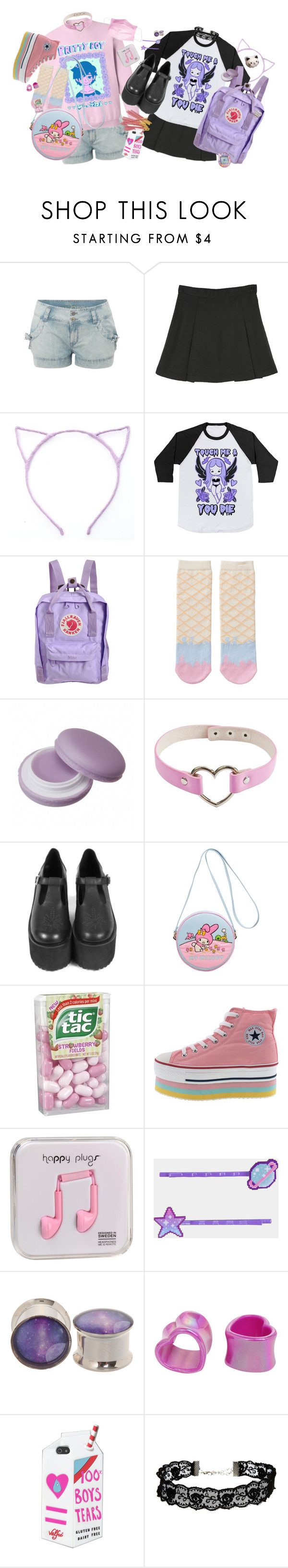 """Fairy and goth"" by bandaidkid ❤ liked on Polyvore featuring Fjällräven, Monki, Olympia Le-Tan, Happy Plugs, Valfré, ASOS, pastel, pastelgoth, kawaii en harajuku"