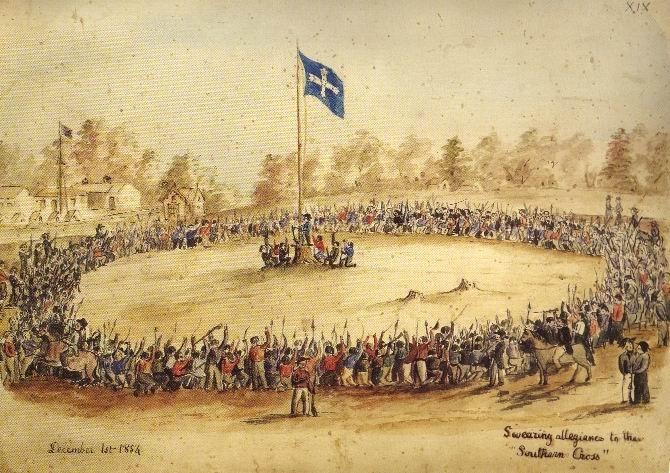 Eureka Stockade at the Ballarat goldfields in 1854