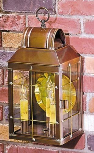 brass, lantern, wall, sconce, rustic, entry, porch, Handcrafted, lighting, light, USA, Americana, America, deck, outdoor, indoor, colonial, primitive, weathered