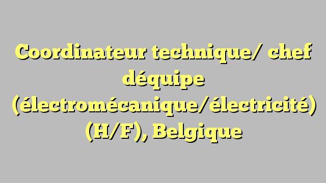 Coordinateur technique/ chef déquipe (électromécanique/électricité) (H/F), Belgique