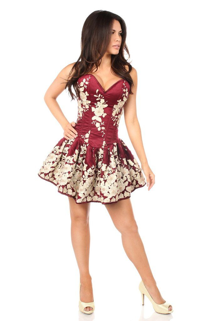Daisy Corsets Top Drawer Elegant Wine Floral Embroidered Steel Boned Short Corset Dress