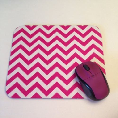 Hot Pink and White Chevron Print Mouse Pad High Quality Office Desk Decor - Simply Chic Gal