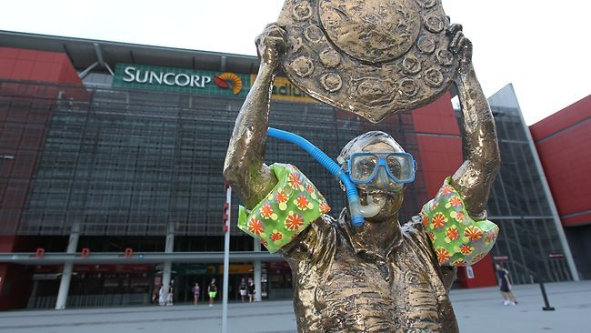 Wally Lewis statue decked out in readiness for the January 2011 floods in Brisbane.