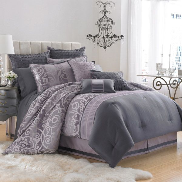 I think I really like this... Grey looks nice: Manor Hill, Decor Ideas, Bedrooms Colors, Bedrooms Sets,  Comforter, Master Bedrooms,  Puff, Purple Bedrooms, Bedrooms Ideas