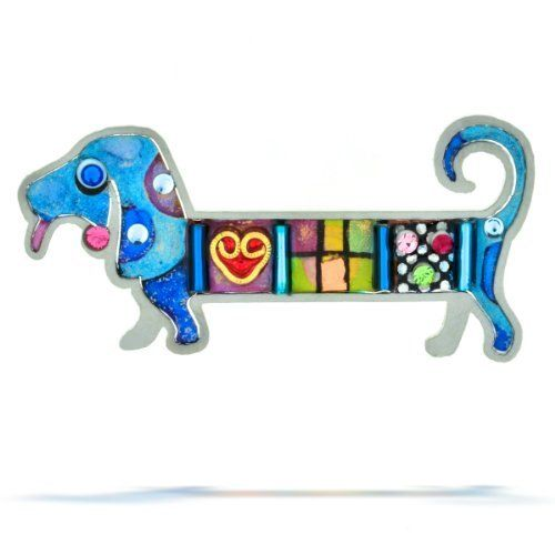 """Blue Dachshund Dog Pin from the Artazia Collection #320 NP The Artazia Collection. $74.00. Each piece is truly like a miniature artwork. Sparkling Swarovski crystals in a variety of colors make this pin very beautiful and eye catching. See our Total Satisfaction Pledge and easy return and refund policy. This adorable blue dachshund dog pin is hand painted at head and tail in blue with dark blue spots. """"The dachshund's midsection is decorated with colorful beads, a gold heart,..."""
