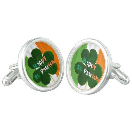 Shamrock Clover Irish Flag Ireland St. Patrick Cufflinks - accessories accessory gift idea stylish unique custom