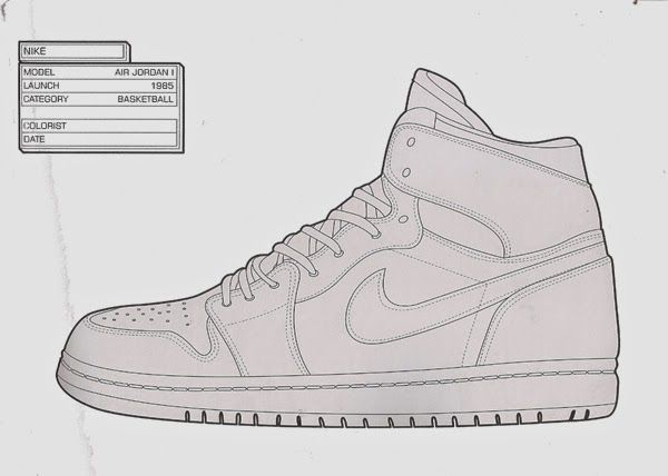 Nike Air Jordan Coloring Page Could Use This As A Template And Then Design The Trainer Based On An Artist