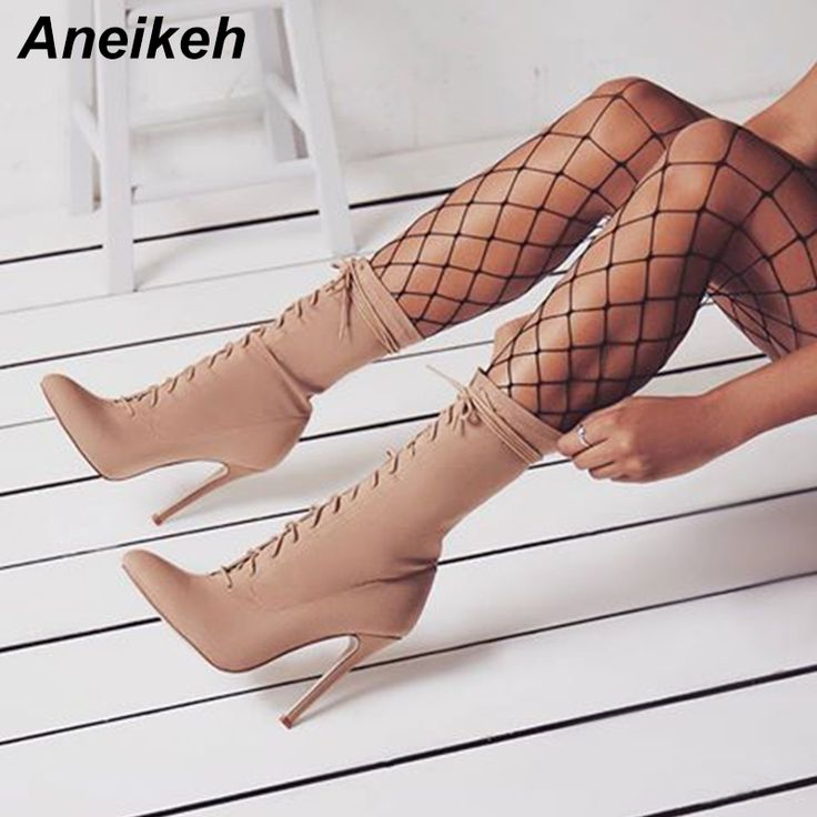 2019 Ankle Boots Pointed Toe Stiletto Heel Shoes