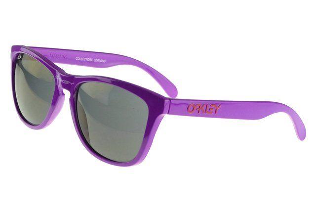Imitated Oakley Frogskin Sunglasses Purple Frame Black Lens#Oakley Sunglasses