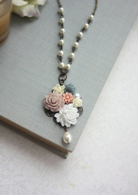 Flower Collage Necklace. White, Taupe, Blue, Ivory Pearl Vintage Inspired Necklace. Bridesmaids Gift, Nature Country Garden Wedding