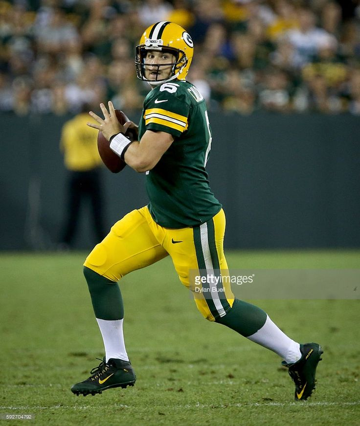 Joe Callahan #6 of the Green Bay Packers scrambles in the third quarter of a preseason game against the Oakland Raiders at Lambeau Field on August 18, 2016 in Green Bay, Wisconsin.