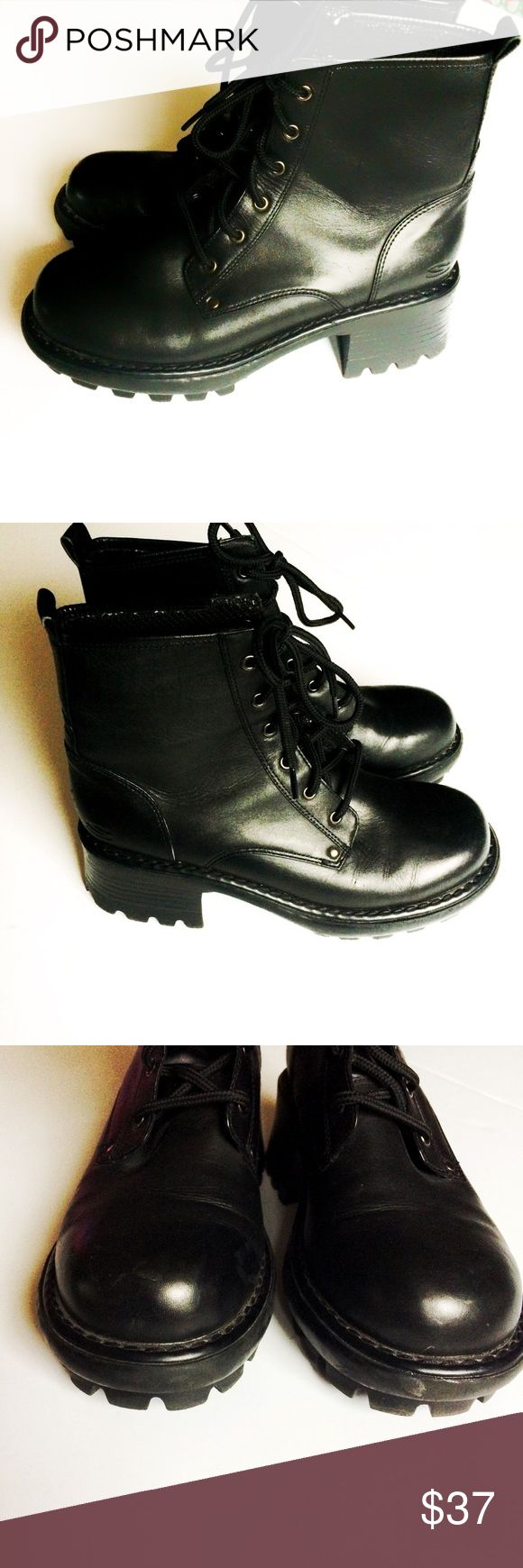 Skechers black leather lace-up heavy combat boots Make an offer! No trades. Bundle and save - I'm a fast shipper! Skechers Shoes Lace Up Boots