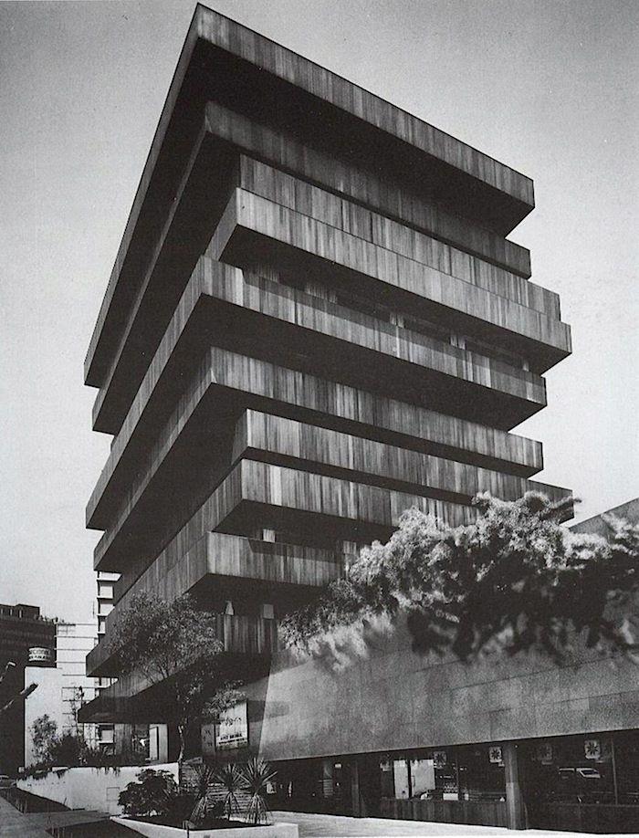 Palmas Building, by Juan Sordo Madaleno, 1975, in Mexico.