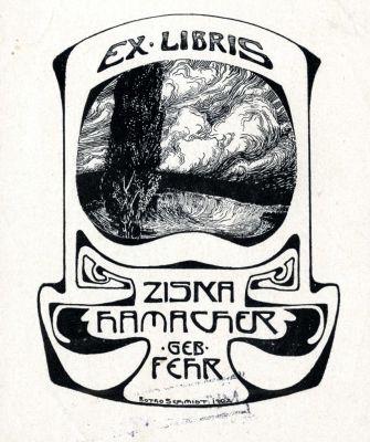 Bookplate by Botho Robert Schmidt for Ziska Hamacher geb. Fehr, 1902