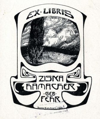 Bookplate by Botho Robert Schmidt for Ziska Hamacher geb. Fehr, 1902