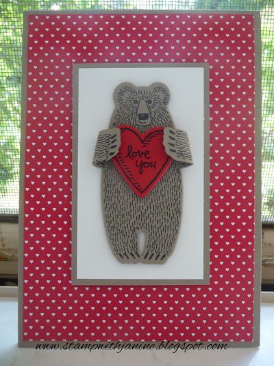 Janine Rawlins Stampin'Up! Independent Demonstrator : Bear Hugs Card for Valentines Day.