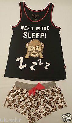 Primark señoras Mono emoji Chaleco T shirt & shorts Pijama Set Pj Pijamas in Ropa, calzado y accesorios, Ropa para mujer, Ropa para dormir, lencería | eBay