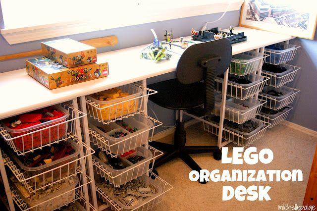 Lego Organization DeskPlayrooms Ideas, Lego Organic, Michelle Paige, Michele Paige, Kids Stuff, Kids Room, Lego Tables, Lego Storage, Lego Desks