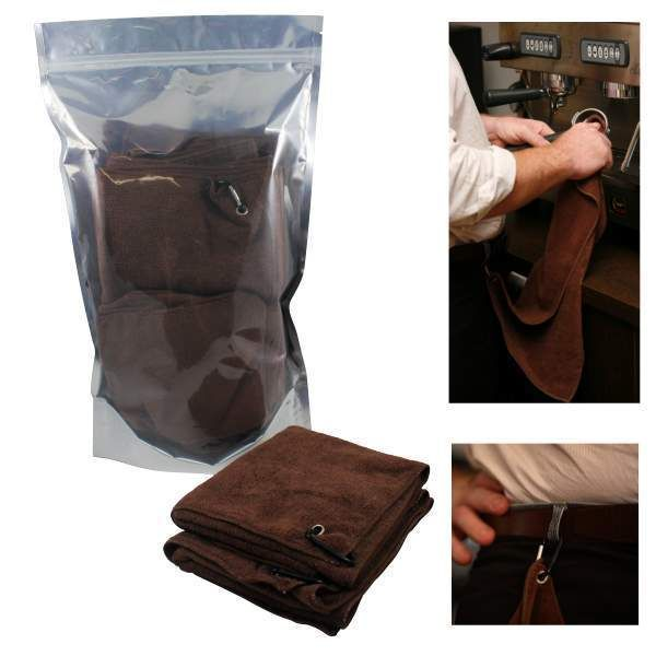 The Clean Machine Barista Cloth set offers a commercial quality hard wearing set of 10 microfibre cloths. The brown coffee cloth has a generous length and handy clip for quick and easy use. Dimensions are 30cm x 59cm.