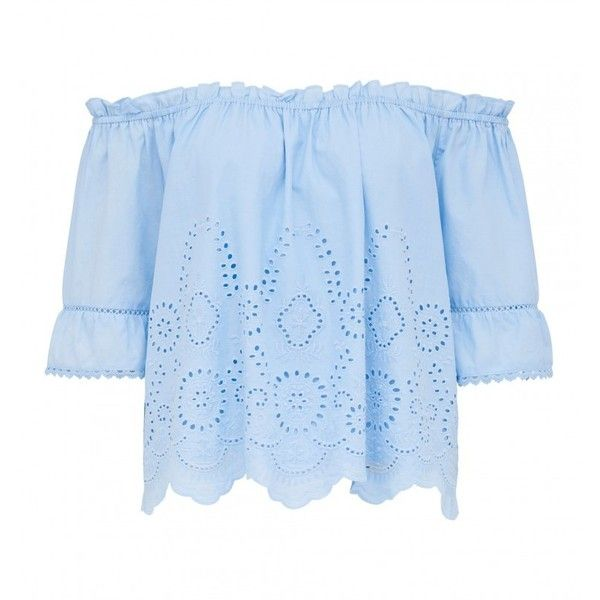 Bessy Embroidered Off Shoulder Top ($54) ❤ liked on Polyvore featuring tops, blouses, off the shoulder tops, embroidery top, blue top, embroidered blouse and embroidery blouses