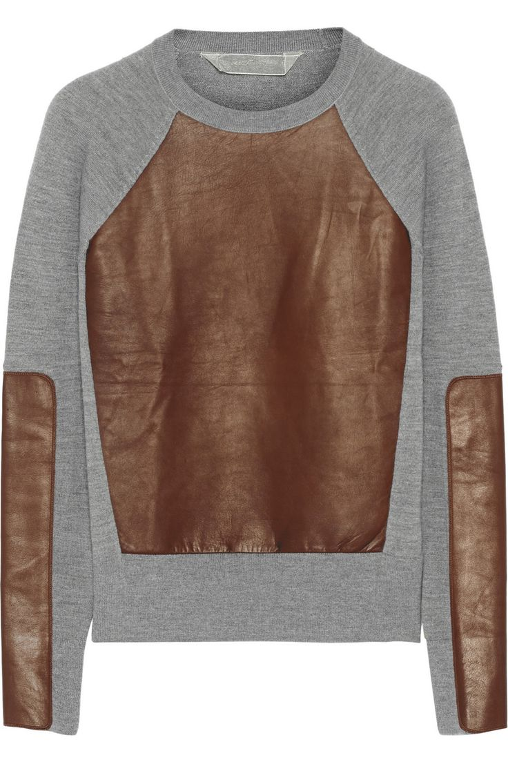 Reed Krakoff | Leather-paneled cashmere, wool and silk-blend sweater | NET-A-PORTER.COM