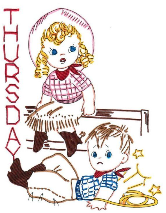 Vintage Cowboy Tots Tea Towel Embroidery pattern transfer ~ This reminds me of me & my brother David :D