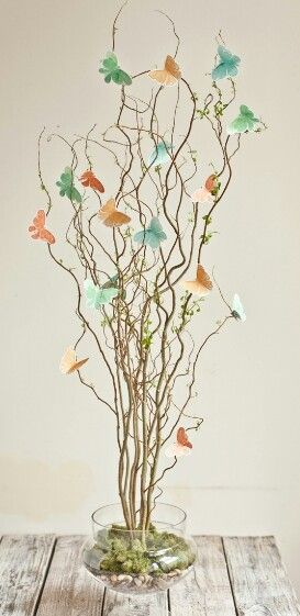 Willow tree branches and hand-painted paper butterflies!!!