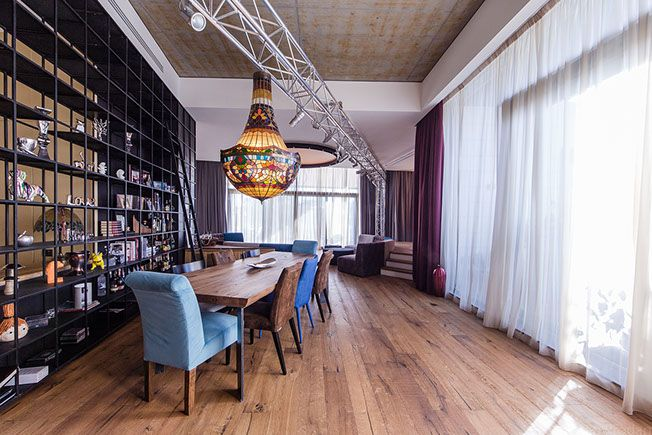 Dining area with custom made chandelier, Backstage concept - Apartment M, Bucharest