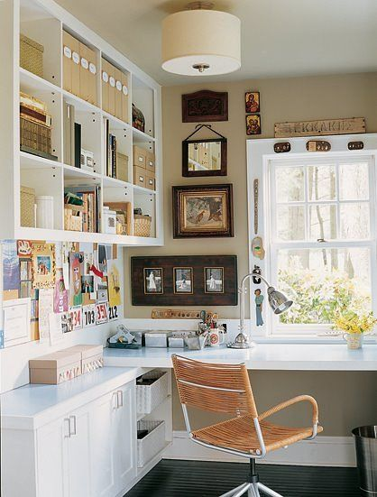 L-shaped desk and lots of shelves