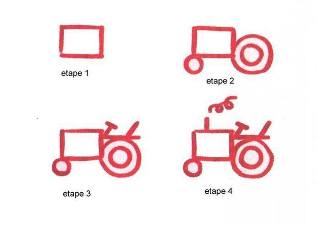 Apprendre à dessiner Un tracteur - Dessins simples