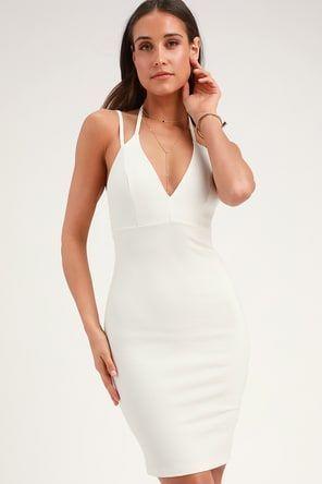 5d295695 Chic White Midi Dress - Bodycon Dress - White Backless Dress #dressesbodycon