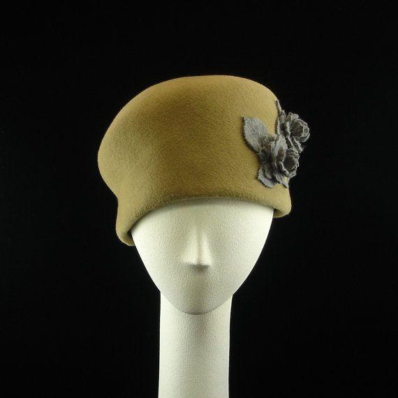 Handmade Cloche Felt Hat Womens Vintage Style Tan w Heather Gray Flowers - The Millinery Shop