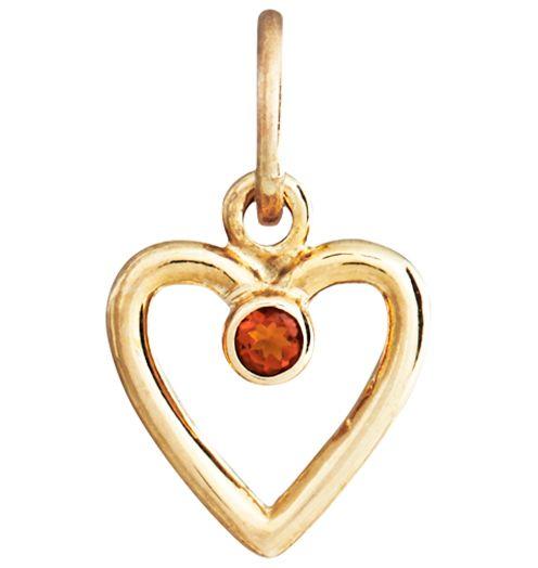 14K Yellow Gold Citrine Birth Jewel Heart Charm