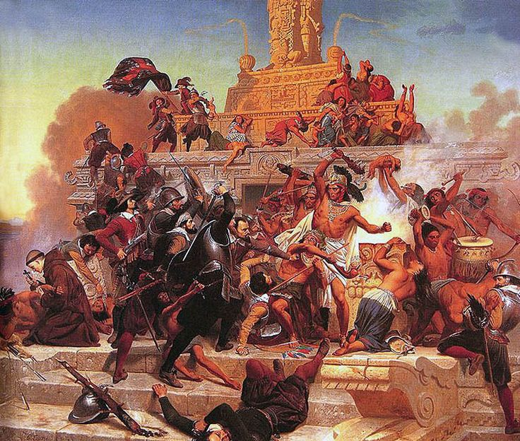 "La Pintura y la Guerra ""Cortes and his army fight back into Tenochtitlan"" Emanuel Leutze"
