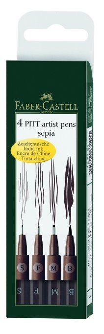 Faber-Castell Pitt Artist Pen Wallet Sepia (4 Sizes)