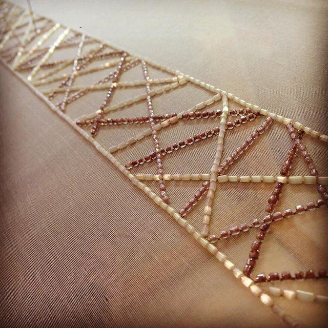 Embroidery in progress #naturalcolour #handembroidery #inspiration #lelunéville #lunevilleembroidery #lunevillehook #perlenstickerei #pattern #handstickerei #beadembroidery #fashionembroidery #fashion_embroidery #handmade #textiledesign #embroiderydesign
