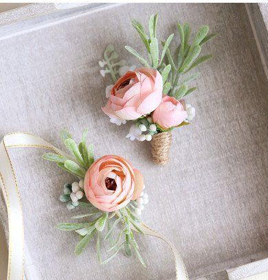 Check out more corsage and boutonniere sets on www.indieknot.com and get 15% off your first purchase! Features Ranunculus and twine wrap.